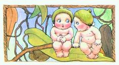 May Gibbs' Gumnut babies. Children's Book Illustration, Book Illustrations, Art For Kids, Kids Fun, Baby Fairy, Baby Tattoos, Cartoon Movies, Elements Of Art, Australian Artists
