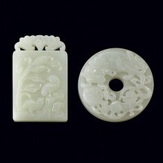 Chinese Light Celadon Jade Plaque; And a Chinese White Jade Bi