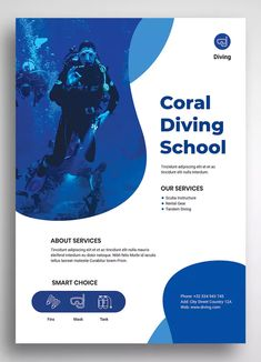 Fresh and elegant and modern design for a flyer. Perfect for Diving and Snorkeling package promotions. Graphic Design Flyer, Poster Design Layout, City Poster, A4 Poster, Flyer Design Inspiration, Event Poster Template, Flyer Design Templates, Flyer Promo, Sport Flyer