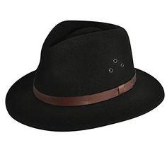 946c840fe4f892 Country Gentleman Mens Dickens Gentlefelt® Fedora Hat Black L : D… …