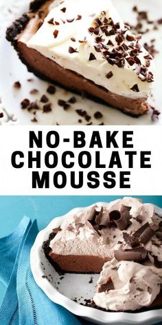 My No-Bake Chocolate Mousse is as easy as it gets. It's a cream cheese chocolate mousse made with cocoa powder. There is no cooking involved and no raw eggs! It's an easy chocolate mousse recipe that Gluten Free Desserts, No Bake Desserts, Just Desserts, Delicious Desserts, Dessert Recipes, Yummy Food, Chocolate Mousse Recipe, Chocolate Pies, Chocolate Moose