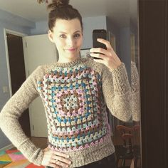 @kristyglass made Lion Brand's Knit & Crochet Raglan Granny Square sweater and she totally rocked it! Great job Kristy! Click the image for the free pattern!