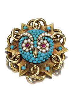 GOLD, TURQUOISE, RUBY AND DIAMOND BROOCH, MID TO LATE 19TH CENTURY