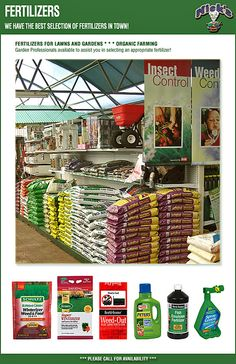 All your fertilizing needs for lawn or garden. Big or small.