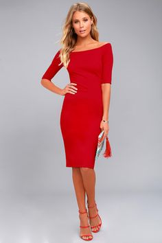 Slip into the Lulus Second Date Red Long Sleeve Bodycon Mini Dress and head out for the night! Sexy bodycon mini dress with square neckline and long sleeves. Red Midi Dress, The Dress, Bodycon Dress, Backless Jumpsuit, Red Jumpsuit, Burgundy Dress, Midi Dresses, Dress Long, Skater Dress