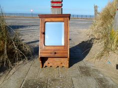 Antique Bathroom Cabinet - Bathroom Storage Cabinet in Oak with Beveled Mirror, 2 Hooks and Tray - Rustic Bathroom Furniture 1930s Antiques