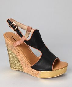 Take a look at this Black Althea Wedge Sandal by Bucco on #zulily today!