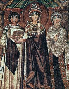 Mosaics at San Vitale in Ravenna showing Emperor Justinian, Empress Theodora, their attendants and Saint Vitalis, 547 A.D.