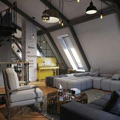 Gray interior...love the yellow piano in the corner