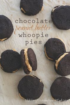 Low Carb Chocolate Peanut Butter Whoopie Pies! Tender almond flour chocolate cakes with a creamy peanut butter center.