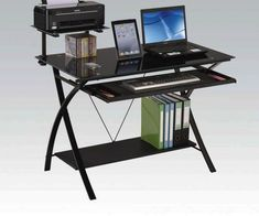 Acme 92078 Symple stuff leaman erma black finish metal and glass computer student work desk. Desk measures x x H. Some assembly required. Home Office Computer Desk, Office Set, Work Desk, Desk With Keyboard Tray, Acme Furniture, Office Furniture, Modern Furniture, Furniture Sets, Glass Desk