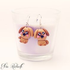 dog earrings - polymer clay