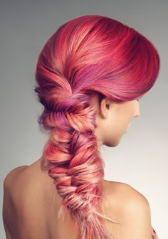 Pink braid....WOW!!!!  So much going on here that I love!  I love all the hues of pink and peach, I love the tight fishtail braid gathering all the hair for the loose, 'pulled-out' braid...which I also love.  Too gorgeous!!!!