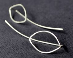 Earrings. Modern Contemporary Simple Sleek Elegant Design. Sterling Silver Jewelry. Handmade by Epheriell on Etsy. Long Leaf. Leaves.