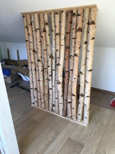 Tree Stump Decor, Birch Tree Decor, Christmas Lounge, Twig Furniture, Pony Wall, Living Room Partition, Wall Finishes, Shelf Design, Living Spaces