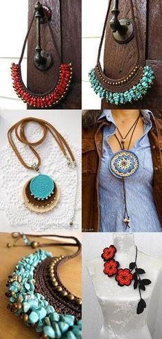 Luty Artes Crochet: arte na net Macrame Jewelry, Fabric Jewelry, Wire Jewelry, Jewelery, Handmade Jewelry, Crochet Earrings Pattern, Crochet Necklace, Crochet Patterns, Diy Schmuck