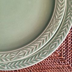 Dinner Plates Laurella in Celadon Green Embossed Ribbon Rim by Universal Pottery