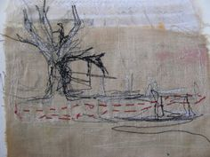 textile art of cas holmes--I would try tree in field with rows of plantings then maybe horse/cow