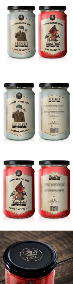 jar labels with vintage inspired designs | London Cocktail Club PD