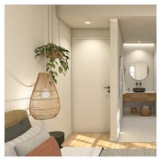 The materials used (wood, terrazzo tiles, stucco etc.) create harmonic combinations, blending the new with the existing, while they highlight the points of interest. Apartment Renovation, Terrazzo, Hanging Chair, Highlight, Kitchen Remodel, Tiles, Interior Design, Bedroom, Architecture