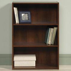 Sauder Beginnings 3-Shelf Bookcase in Brook Cherry