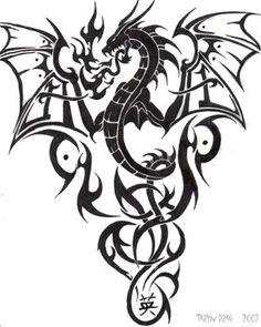 Gallery Tattoo Shared: tribal dragon tattoo gallery...interesting idea