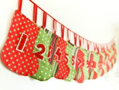Advent Calendar Garland, Christmas Stockings Banner. Stitchinnetka on Etsy