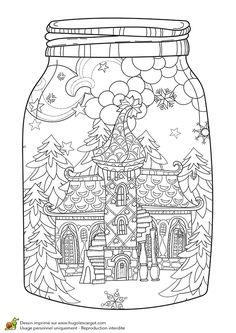 Dessin à colorier pour un hiver zen, un tout petit chalet - Hugolescargot.com