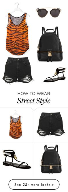 """""""Summer street style"""" by durdane on Polyvore featuring Balmain, Topshop, Tom Ford, Michael Kors and Christian Dior"""