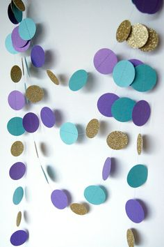 Paper Garland in Purple Lagoon and Gold 18 by TheLittleThingsEV