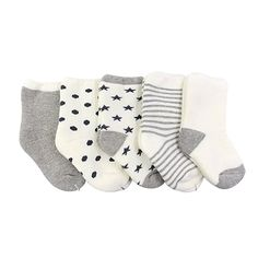 Ehdching Unisex Baby Boys Girls Newborn Looped Pile Socks (Pack of 5) (3-12 Months)