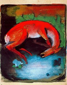 Franz Mark [German Expressionist Painter, 1880-1916] Dead Deer, 1913Tempera on paper16,3 x 13 cmPrivate collection