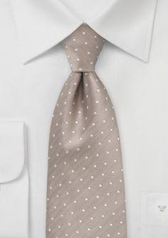 Handwoven Polka Dot Tie in Champagne