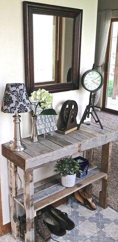Recibidor con palets de madera/ Rustic Table/ Entryway /Home Decor