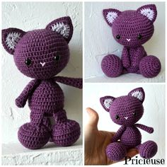 amigurumi Doudou  Chat au crochet  prune Chat Crochet, Crochet Lovey, Crochet Diy, Crochet For Kids, Dou Dou, Knitted Cat, Crochet Animals, Baby Knitting, Crochet Projects