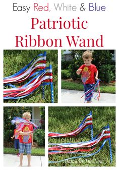 Easy DIY red, white and blue patriotic ribbon wands. They are so easy to make that a preschooler can make them! Perfect for the of July, Memorial Day, Veterans Day or any other parade or reason to wave a ribbon wand! - 30 of the BES 4th Of July Parade, 4th Of July Celebration, Fourth Of July, Patriotic Crafts, July Crafts, Summer Crafts, Patriotic Party, Holiday Crafts, Holiday Fun