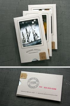 The Top 16 Photography Business Cards - Design Ideas || Business card sleeves holding examples of the photographers work