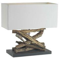 Puricatione caotico bordlampe med hvit rektangulær bomullsskjerm. Varenummer: 98750001
