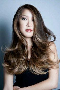 Long layered hair.