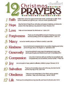 12 Christmas Prayers: Great reminder for the real reason for the season.