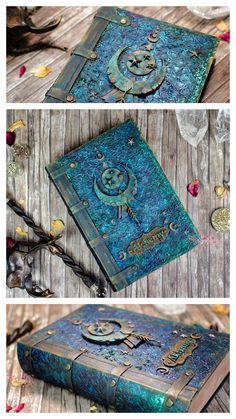Mixed media altered book with Lindy's sprays, Dusty Attic Chipboards Handmade Journals, Handmade Books, Handmade Notebook, Altered Book Art, Altered Boxes, Arte Steampunk, Scrapbook Cover, Harry Potter Diy, Magic Book