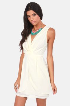 Truth or Darling Sleeveless Cream Dress at LuLus.com!