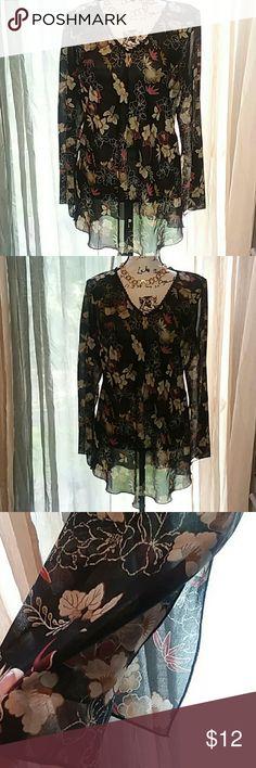 Blouse  tunic print JKLA CALIFORNIA Sheer  v neck dressy blouse.  Fall colors JKLA CALIFORNIA Tops Tunics