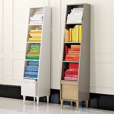 paul loebach tall shelf: im not sure what I like better...the shelves, or the colored books...