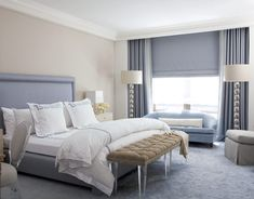 Calm gray or greige + blue bedroom: 'Swiss Coffee' by Benjamin Moore