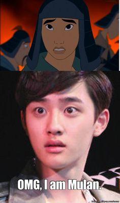 Meme Do KyungSoo (D.O.) from EXO making cosplay Mulan (Disney)