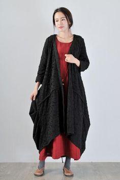 Women Cotton Long Coat Cardigan