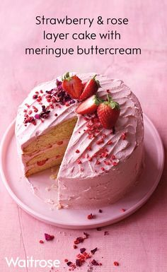 Our summery cake has a double dose of fresh strawberries, in both the filling and the buttercream. Perfect for an afternoon tea or birthday party, our strawberry and rose layer cake makes for a…More Party Desserts, Dessert Recipes, Waitrose Food, Layer Cake Recipes, Cake Recipes Uk, Let Them Eat Cake, Yummy Cakes, How To Make Cake, No Bake Cake