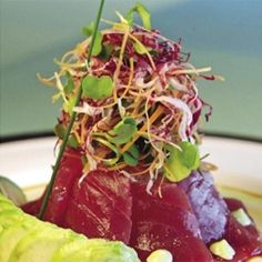 Yellowfin Tuna Sashimi and Tartare Salad #recipe. An elegant and fresh appetizer for summer! from Wolfgang Puck