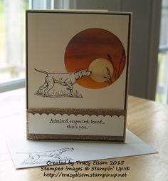 Great masculine card using The Wilderness Awaits and Wetlands stamp sets from Stampin' Up!  http://tracyelsom.stampinup.net
